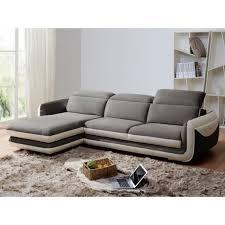 canapé cuir et microfibre canapé d angle en cuir et microfibre iago bicolore gris et blanc