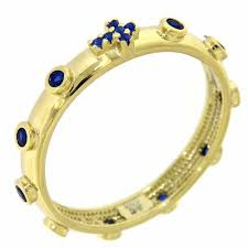 rosary ring rosary ring amen gilded silver 925 blue zircons online sales on