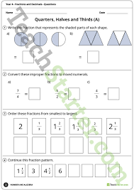 fractions and decimals worksheets year 4 teaching resource