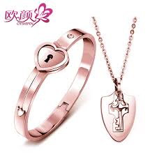 key shaped necklace images Ouyan couples bracelets key to my heart bangle and pendant set in jpg