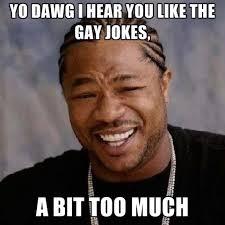 Too Gay Meme - yo dawg i hear you like the gay jokes a bit too much create meme