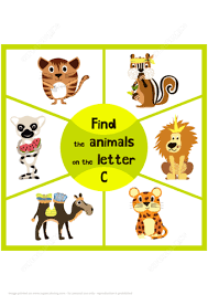find 3 animals on the letter c free printable puzzle games