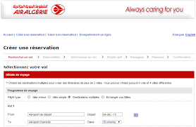 reserver siege air air algérie réservation en ligne de billet d avion gérer compte