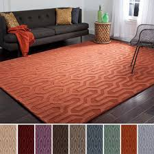 Area Rug 6x9 Area Rug 6x9 Orange Solid Color Embossed Contemporary Pattern Made