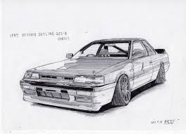 nissan skyline drawing hr31 r32taka