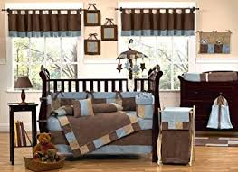 Brown Baby Crib Bedding Modern Soho Blue And Brown Baby Boy Bedding 9pc