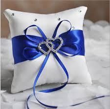 royal blue ribbon 1 x wedding ceremony ring bearer pillow cushion royal blue ribbon