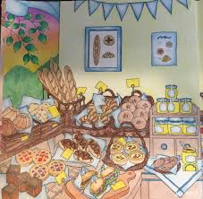 my colorful town by chiaki ida left page of interior of bakery