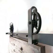 Vintage Sliding Barn Door Hardware by Vintage Industrial Top Mount Spoked Sliding Barn Door Hardware