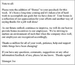 bonus letter memo template letters business letter and templates