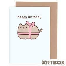 happy birthday ribbon buy pusheen the cat happy birthday ribbon greeting card at artbox