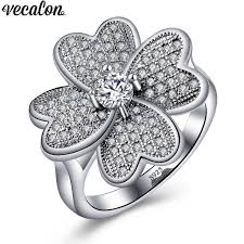 vecalon flower ring pave setting aaaaa zircon diamon 925 sterling