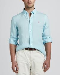 ralph lauren light blue lyst polo ralph lauren linen sport shirt light blue in blue for men