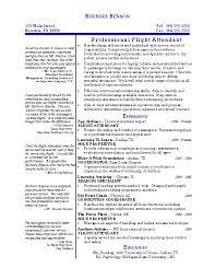 Resume For Flight Attendant Professional Flight Attendant Resume By Barbara Benson Writing