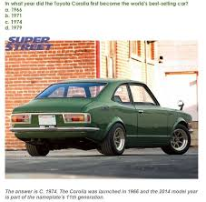 year toyota corolla triviatuesday what year did the toyota corolla become the best