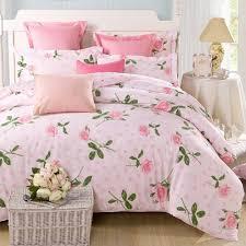 Pink Rose Duvet Cover Set Pure Cotton 4 Piece Bedding Duvet Cover Set Printed Pink Roses
