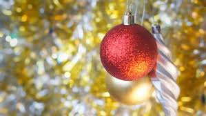unusual christmas decoration a round red toy on christmas tree