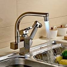 led kitchen faucet rozinsanitary brushed nickel led swivel spout kitchen sink faucet