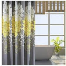 White And Yellow Curtains Bathroom Interior Eforgift Floral Printed Fabric Shower Curtain