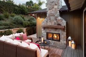 outdoor fireplace with gas lanterns deck farmhouse with ranch transitional candle lanterns