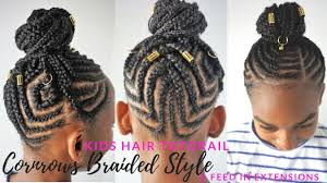 kids braided hairstyles tutorial feed in cornrows ponytail youtube