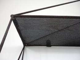 french architectural perforated metal shelves 1950s set of 2 for