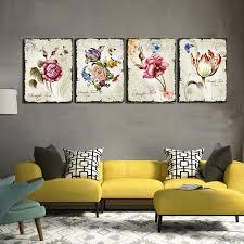 home interior prints 4 pieces floral wall canvas prints flower combination