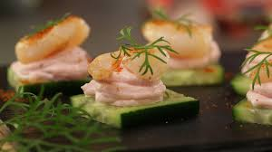 canapes with prawns prawn caviar and cucumber canapes
