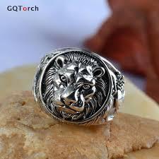 mens sterling rings images Solid 925 sterling silver mens lion ring vintage punk rings for jpg