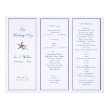 trifold wedding programs starfish tri fold wedding program template zazzle trifold
