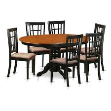 3 Pc Kitchen Table Sets by East West Furniture Avon 7 Piece Oval Dining Table Set With
