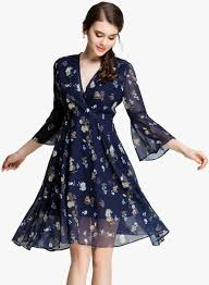 buy jc collection navy blue coloured printed skater dress for