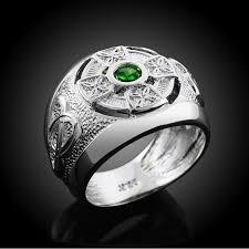 celtic rings 925 sterling silver knot green cz men s celtic