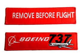 boeing 737 remove before flight embroidery keychain tag for pilots