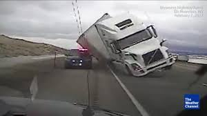 semi truck semi truck crushes patrol car in wyoming the weather channel