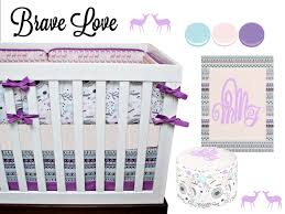 Deer Nursery Bedding Tribal Crib Bedding Nursery Baby Bedding Pink Purple