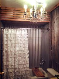 The Latest In Shower Curtain I Love The Corrugated Sheet Metal On Walls Of Tub Fancy Rustic