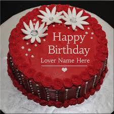 happy birthday red cake with flower and lover name