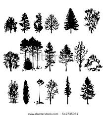 illustration trees set isolated on white stock vector 141513745