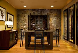 Lovely Stone Accent Wall Dining Room Rustic With Yellow Walls - Dining room accent wall