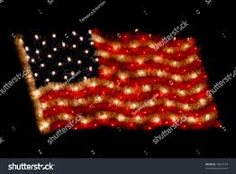 Flag Lights American Flag Composed Christmas Lights Decoration Stock Photo