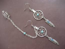 earrings with chain ear cartilage turquoise catcher asymmetrical cartilage helix chain and