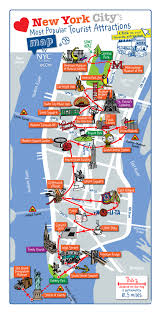 New York Map Manhattan by Detailed Map Of Most Popular Tourist Attractions Of Manhattan Nyc