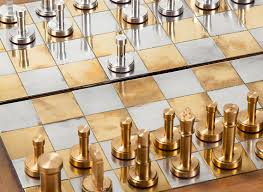 Metal Chess Set by Chess Set With Brass And Aluminum Pieces U2013 Analog Games