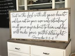 trust in the lord proverbs 3 wood framed sign home wall decor