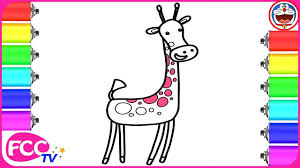 how to color u0026 learn how to draw animals giraffe for baby