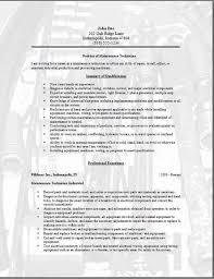 Mechanic Resume Samples by Maintenance Technician Resume Occupational Examples Samples Free