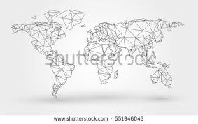 vector map of the world abstract map world connected triangular shapes stock vector