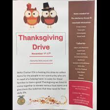 thanksgiving food drive items delta charter ffa deltacharterffa twitter