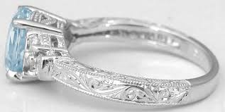 engraving on wedding rings antique aquamarine engagement ring in 14k white gold with engraved